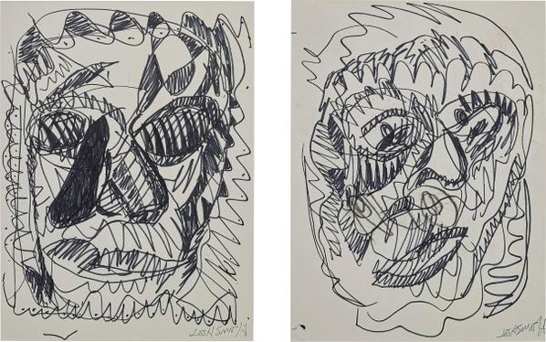 Josh Smith-Two Works: (i) Untitled (Portrait Of A Woman); (ii) Untitled (Portrait Of A Man)-