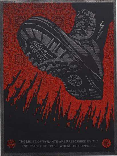 Shepard Fairey-Tyrant Boot Metal-2010