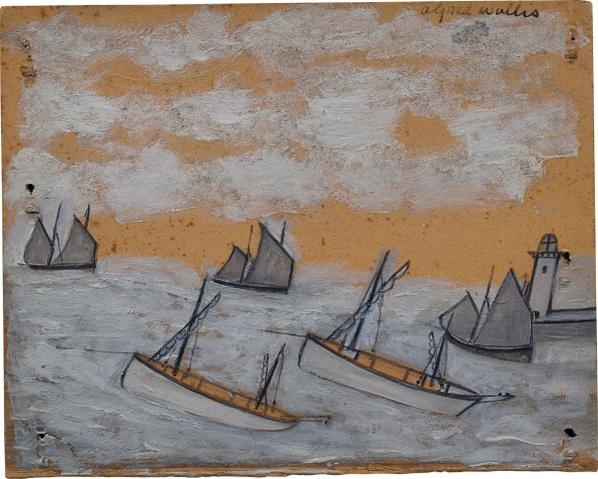 Alfred Wallis-(Recto) Luggers Nearing A Harbour And Lighthouse; (Verso) The Bessie And The Flying Scud Sailing Towards A Harbour-1928