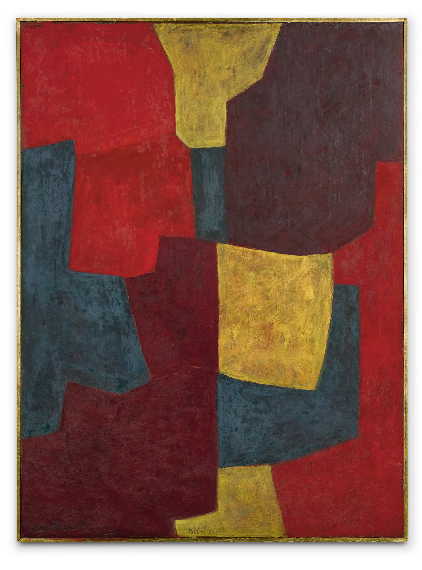 Serge Poliakoff-Composition Abstraite Vert, Rouge, Jaune-1964
