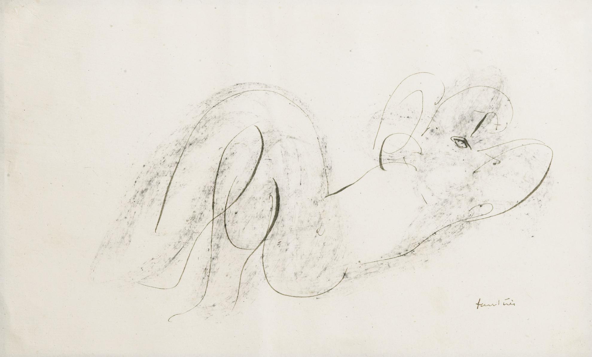 Jean Fautrier-Nu Couche Tete A Droite-1946