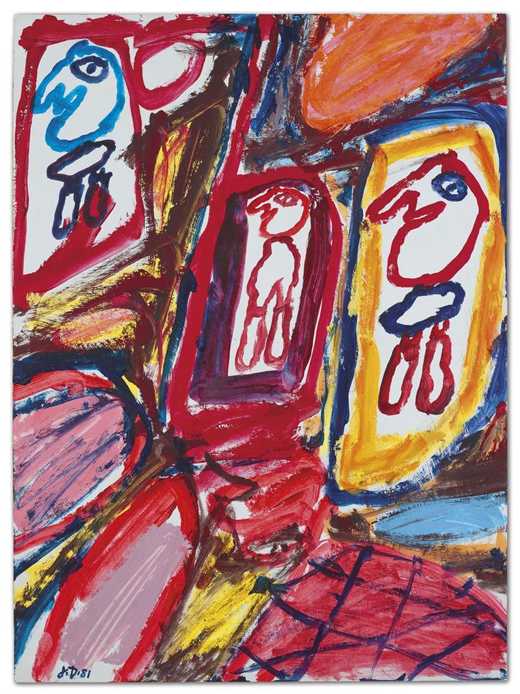 Jean Dubuffet-Site Avec 3 Personnages (E 230)-1981