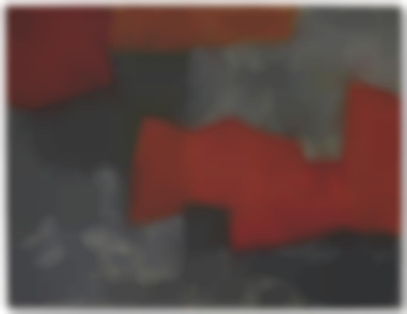 Serge Poliakoff-Composition Abstraite Gris, Orange Et Rouge-1964