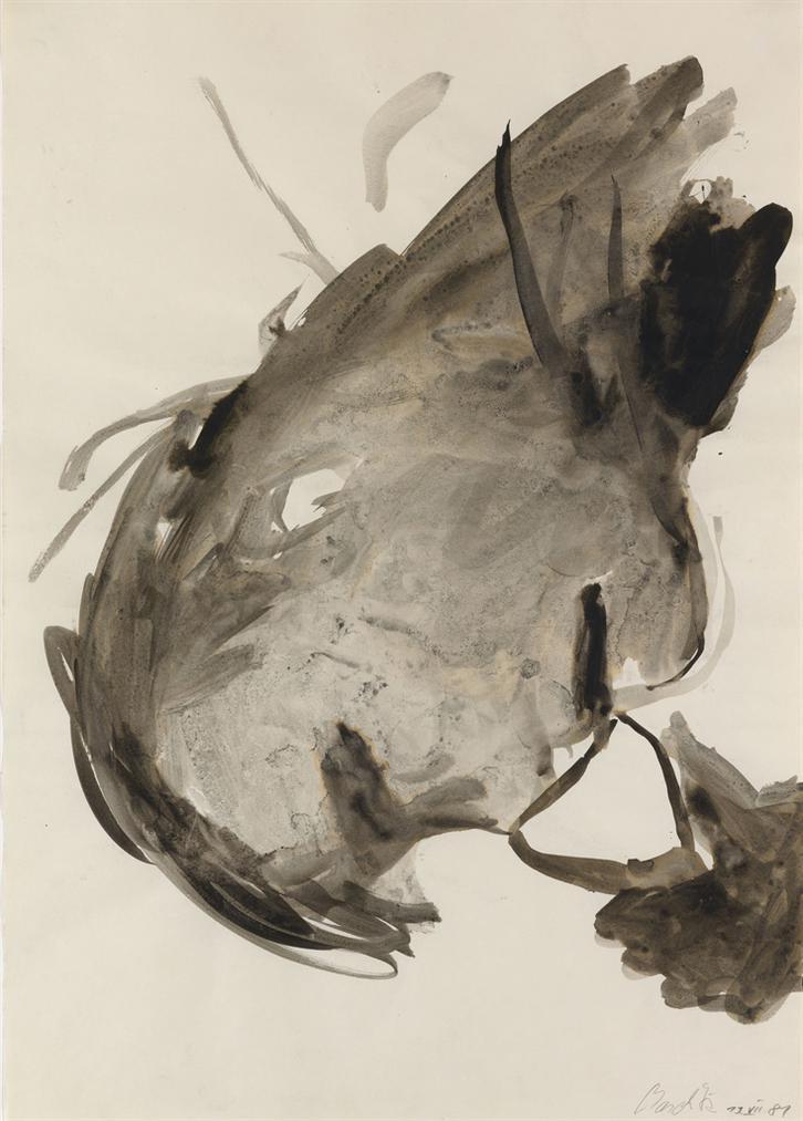 Georg Baselitz-Head With Glass-1981