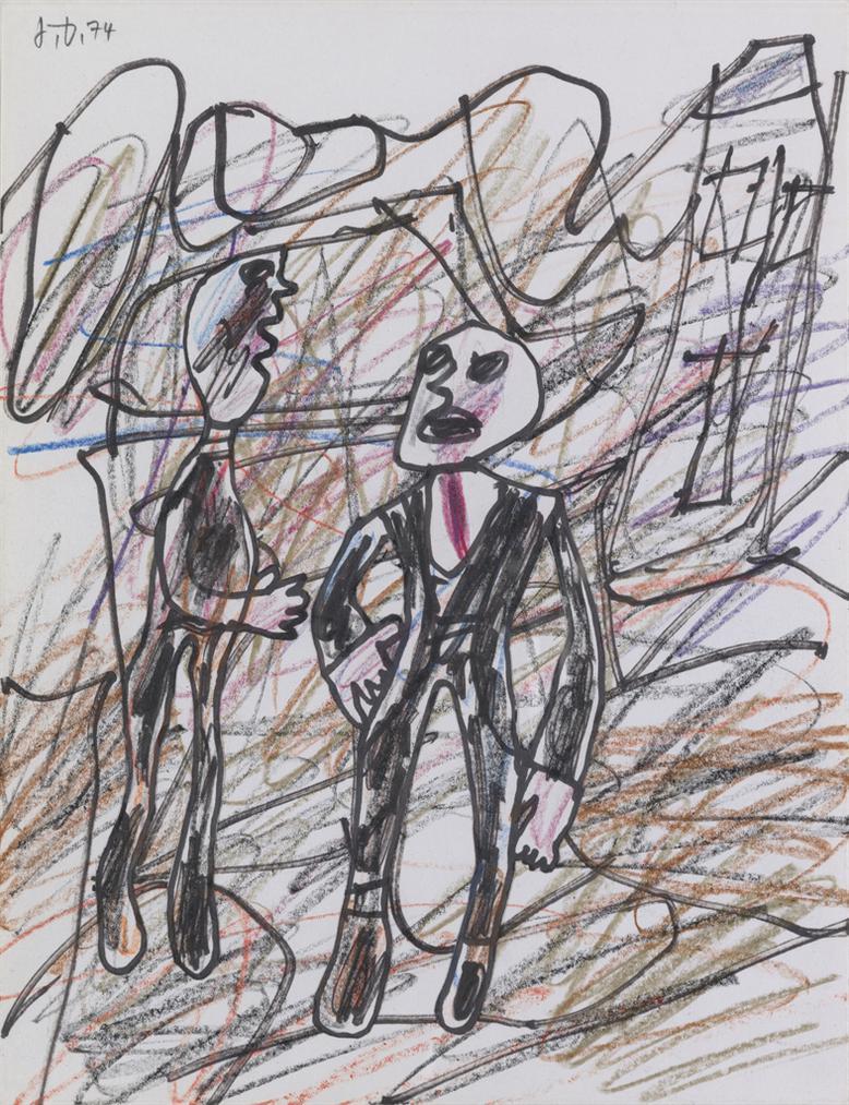 Jean Dubuffet-Paysage Avec Maison Et Deux Personnages-1974