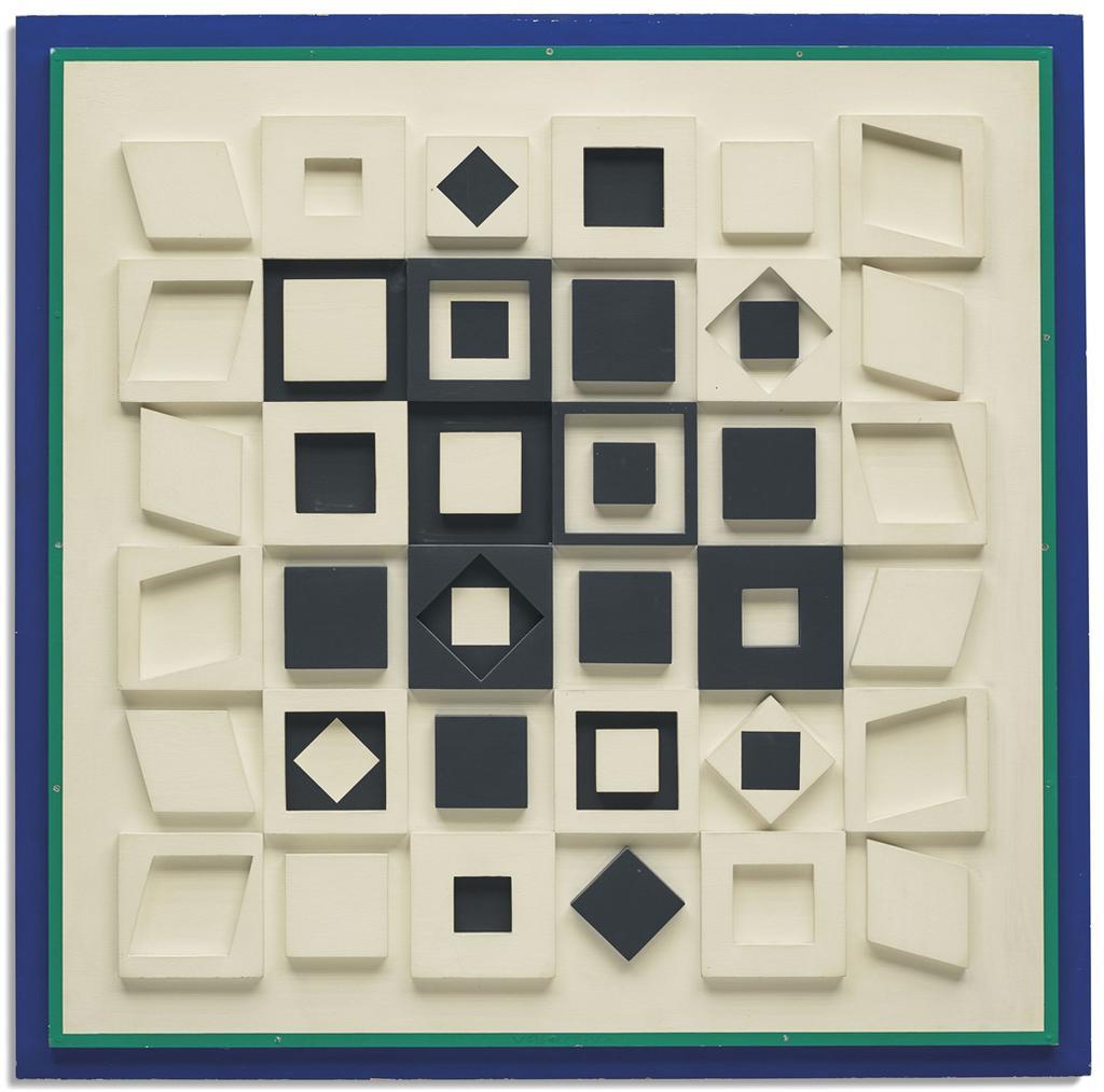 Victor Vasarely-Hh -Banc- Noir-1966