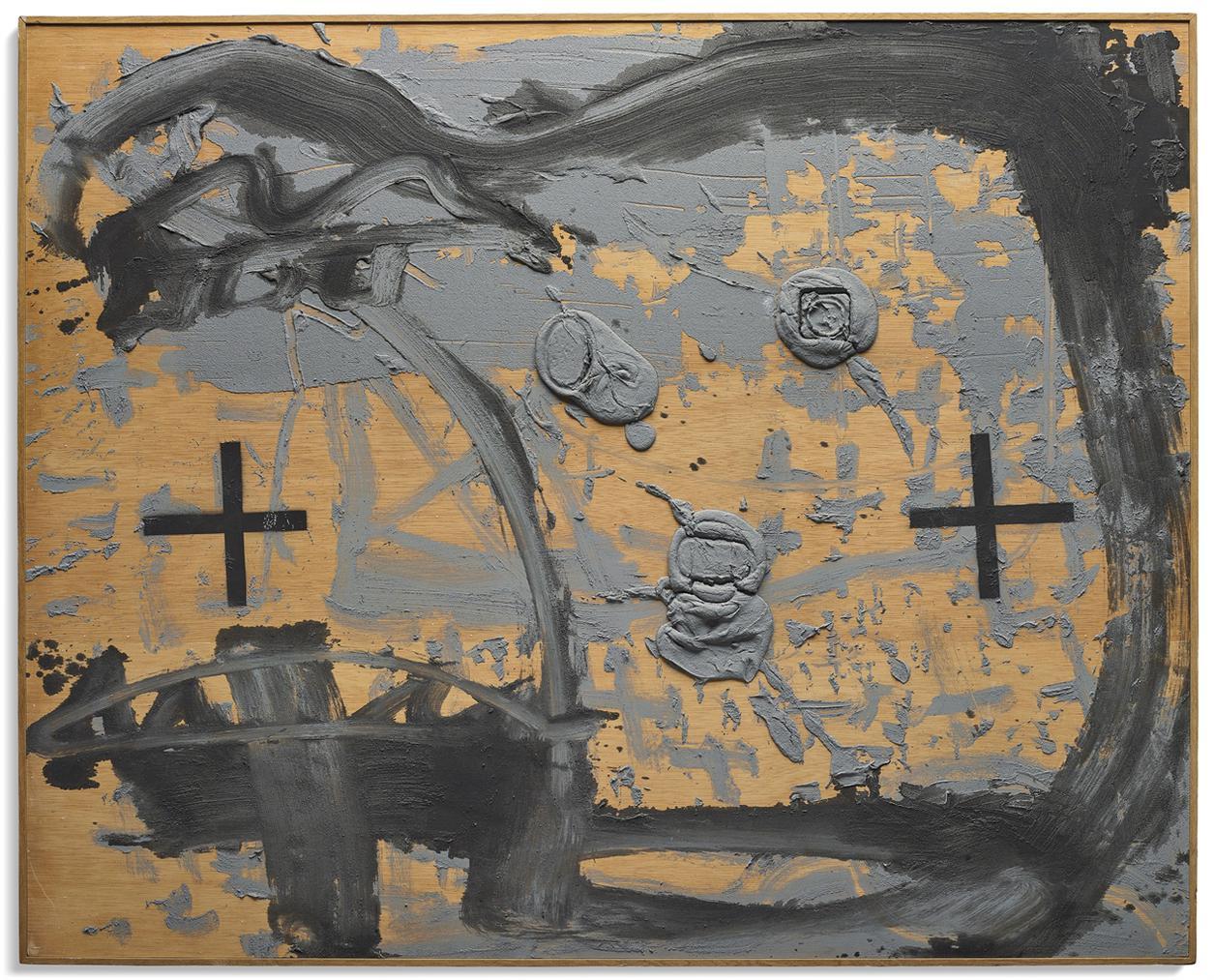 Antoni Tapies-Contorn Negre Sobre Fusta-1985