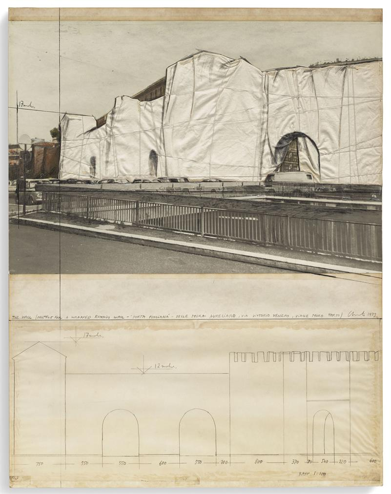 Christo and Jeanne-Claude-The Wall (Project For A Wrapped Roman Wall)-1973