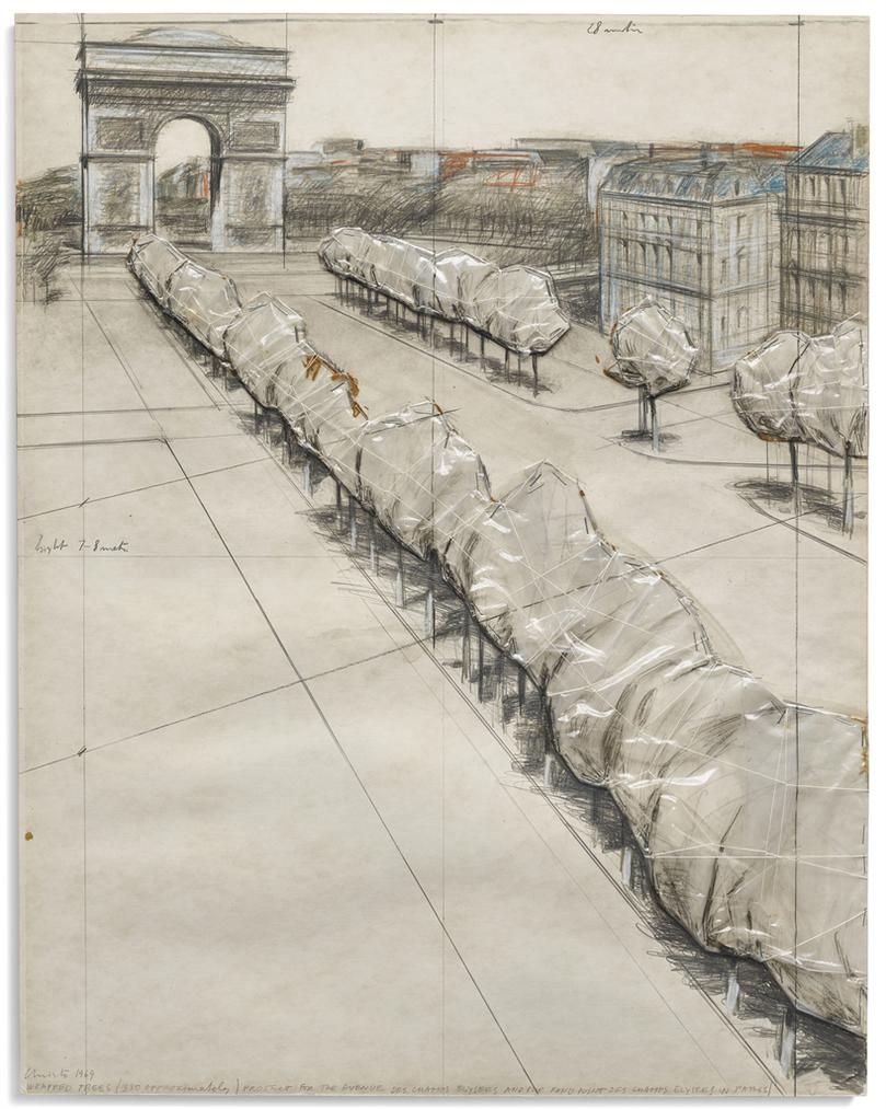 Christo and Jeanne-Claude-Wrapped Trees / Projet Pour Lavenue Des Champs Elysees Et Le Rond Point Des Champs Elysees-1969