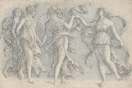 Circle Of Andrea Mantegna - Four Dancing Muses (Bartsch18; Hind V 27.21)-1497