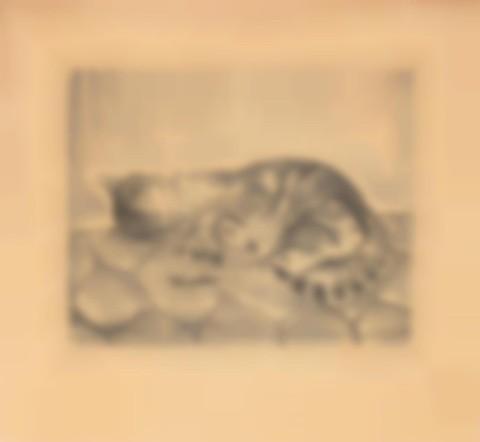 Tsuguharu Foujita-Chat Allonge (Buisson 26.86)-1927