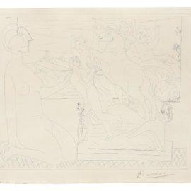 Pablo Picasso-Marie-Therese Agenouillee Contemplant Un Groupe Sculpte, From La Suite Vollard (Bloch 175; Baer 328B.D.)-1933