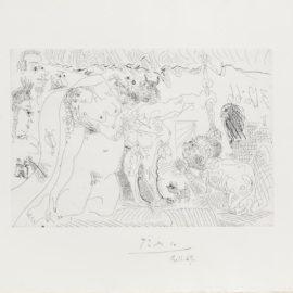 Pablo Picasso-Au Theatre: Le Cocu Brandissant Le Foudre De Zeus, Avec Laigle Du Dit, Etc., From El Entierro Del Conde Orgaz (Bloch 1472; Baer 1383)-1966