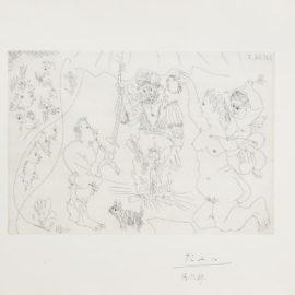 Pablo Picasso-Au Theatre: Le Cocu Couronne Par Venus Et Lamour Flutiste Et Petit Chien, From El Entierro Del Conde Orgaz (Bloch 1475; Bear 1386)-1966