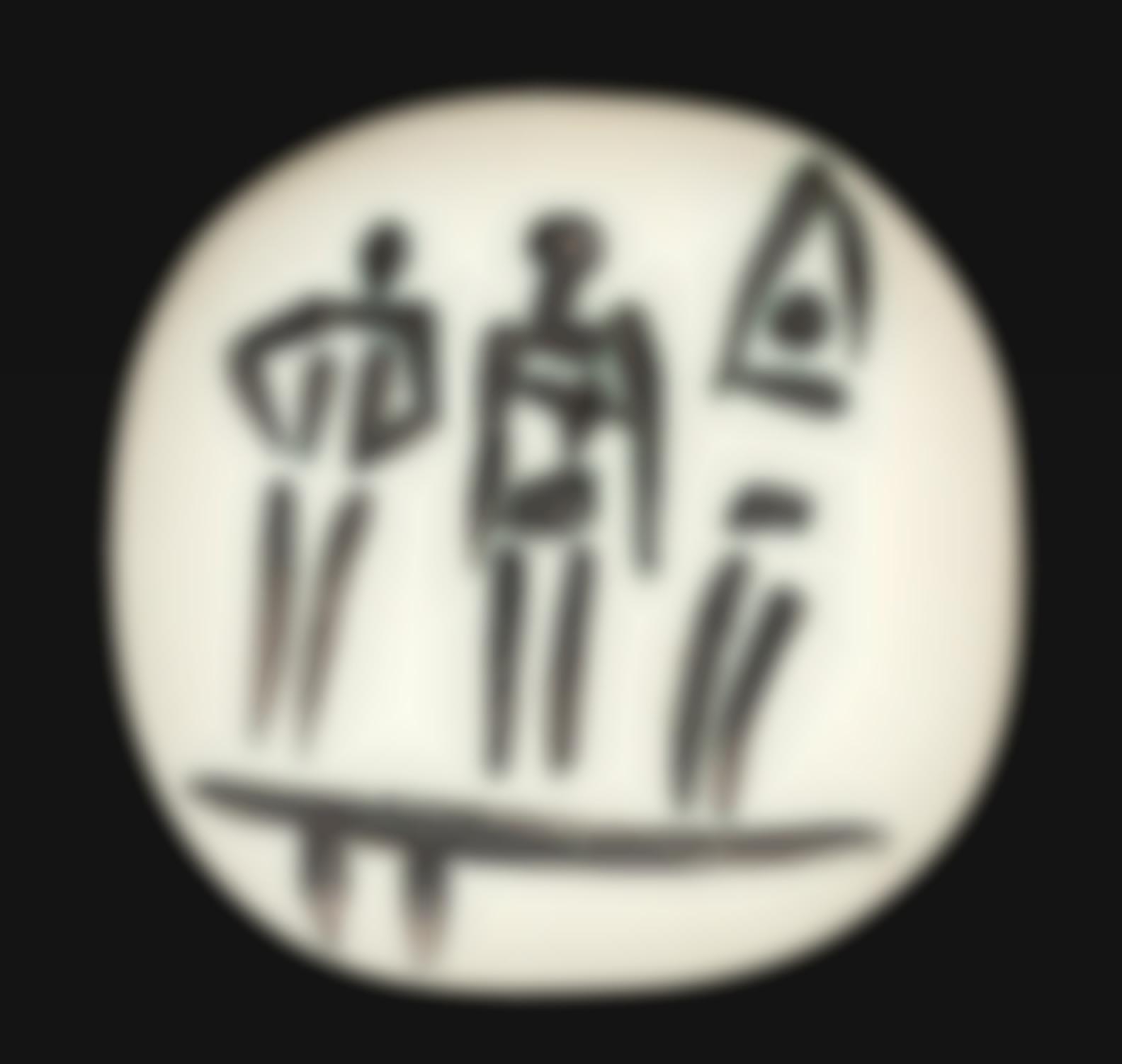 Pablo Picasso-Trois Personnages Sur Un Tremplin (Ramie 375)-1956