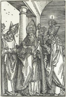 Albrecht Durer-Saints Nicholas, Ulrich And Erasmus (Bartsch 118)-1505