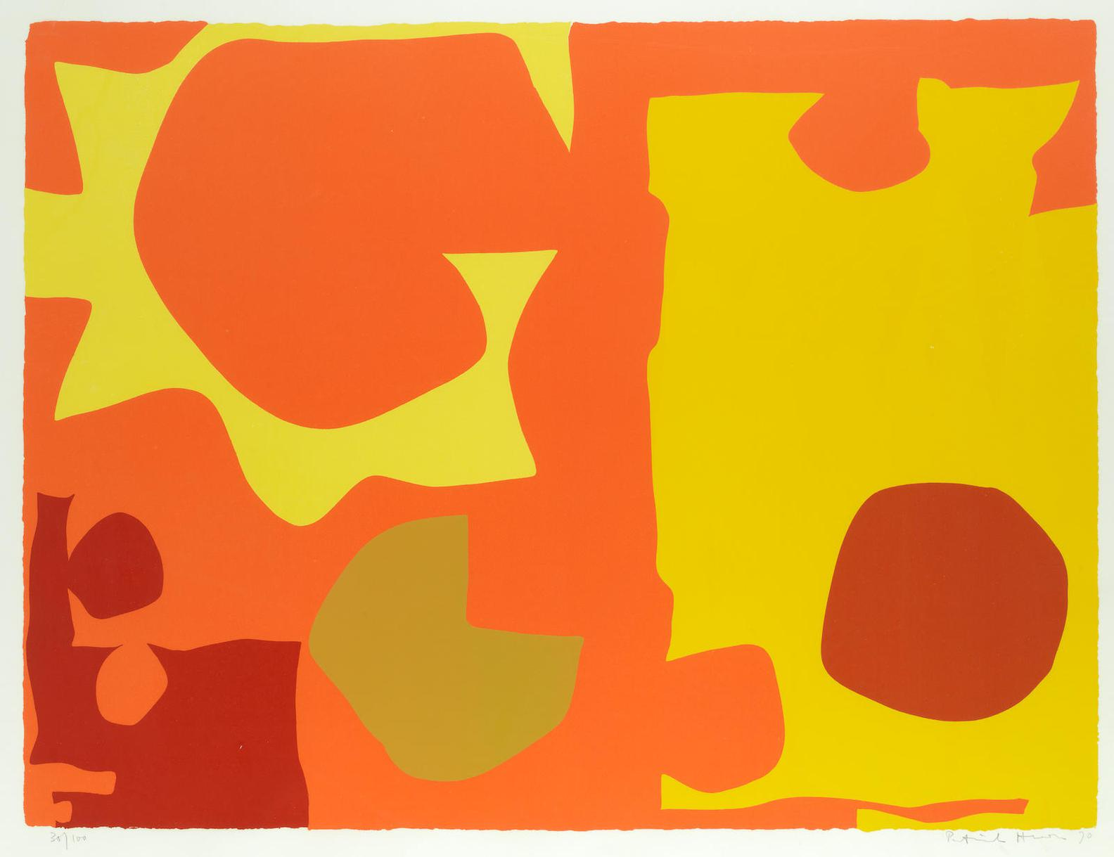 Patrick Heron-Six In Light Orange With Red In Yellow : April 1970-1970