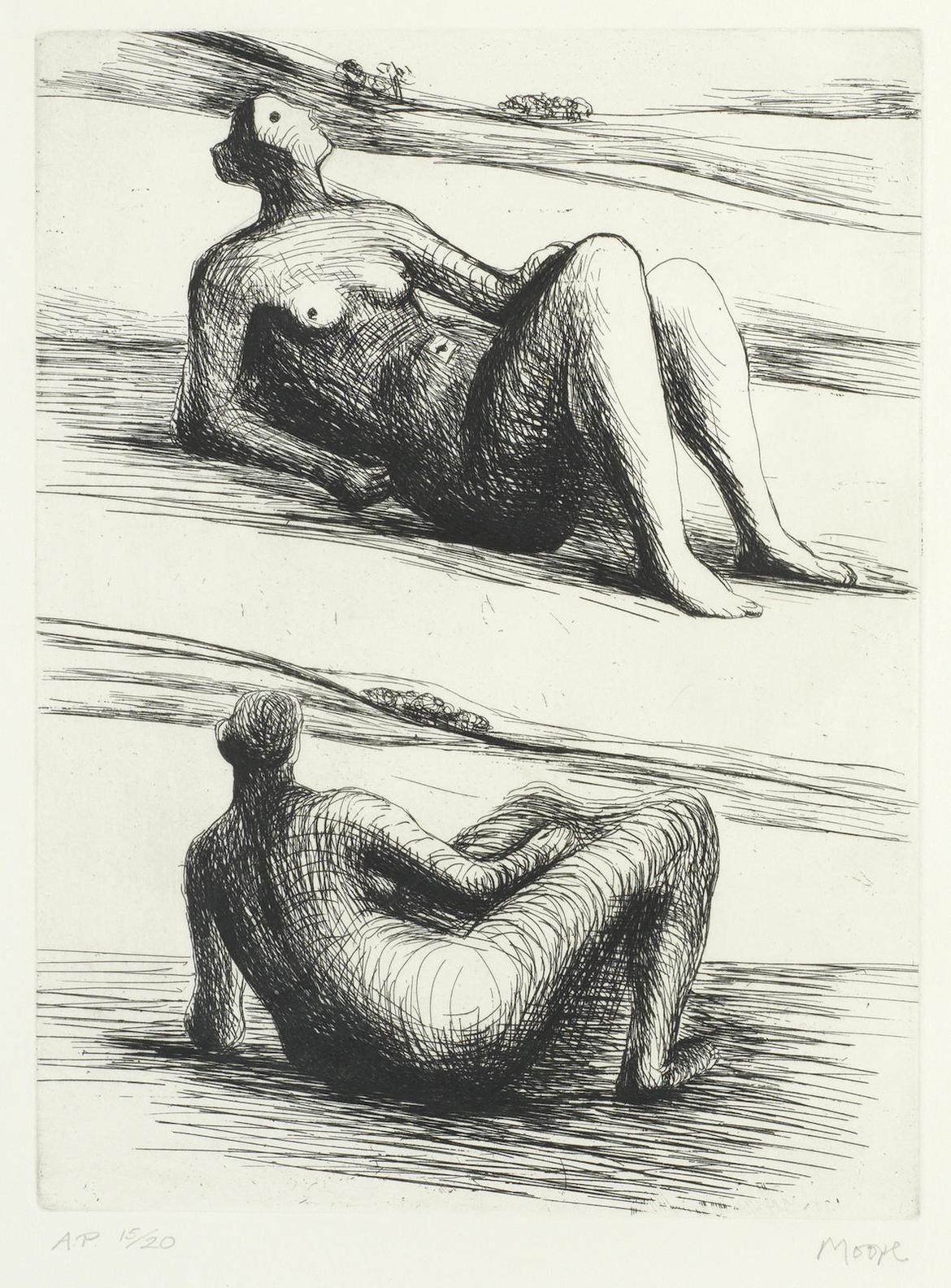 Henry Moore-Two Reclining Figures (Cramer 466)-1978