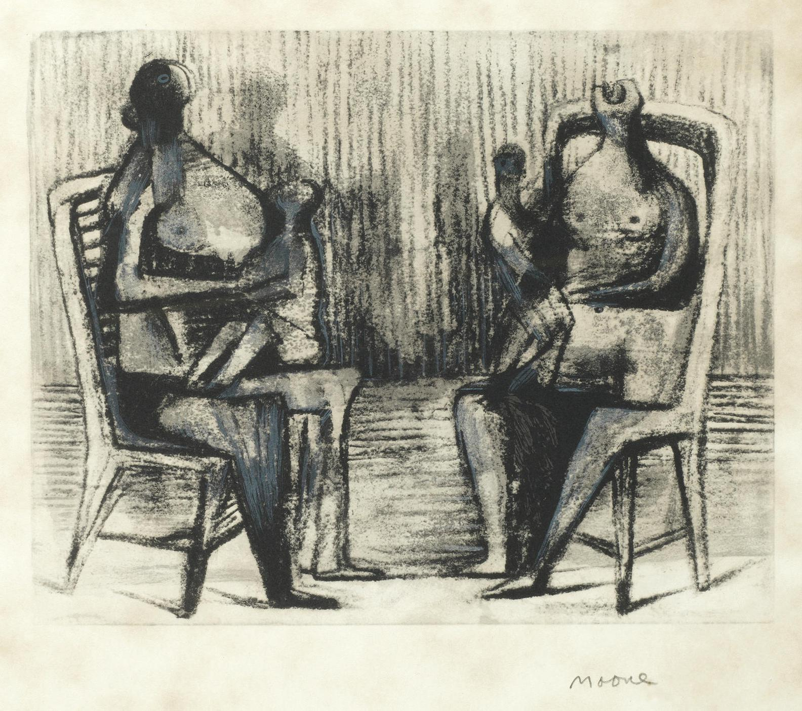 Henry Moore-Two Seated Figures With Children (Cramer 441)-1976