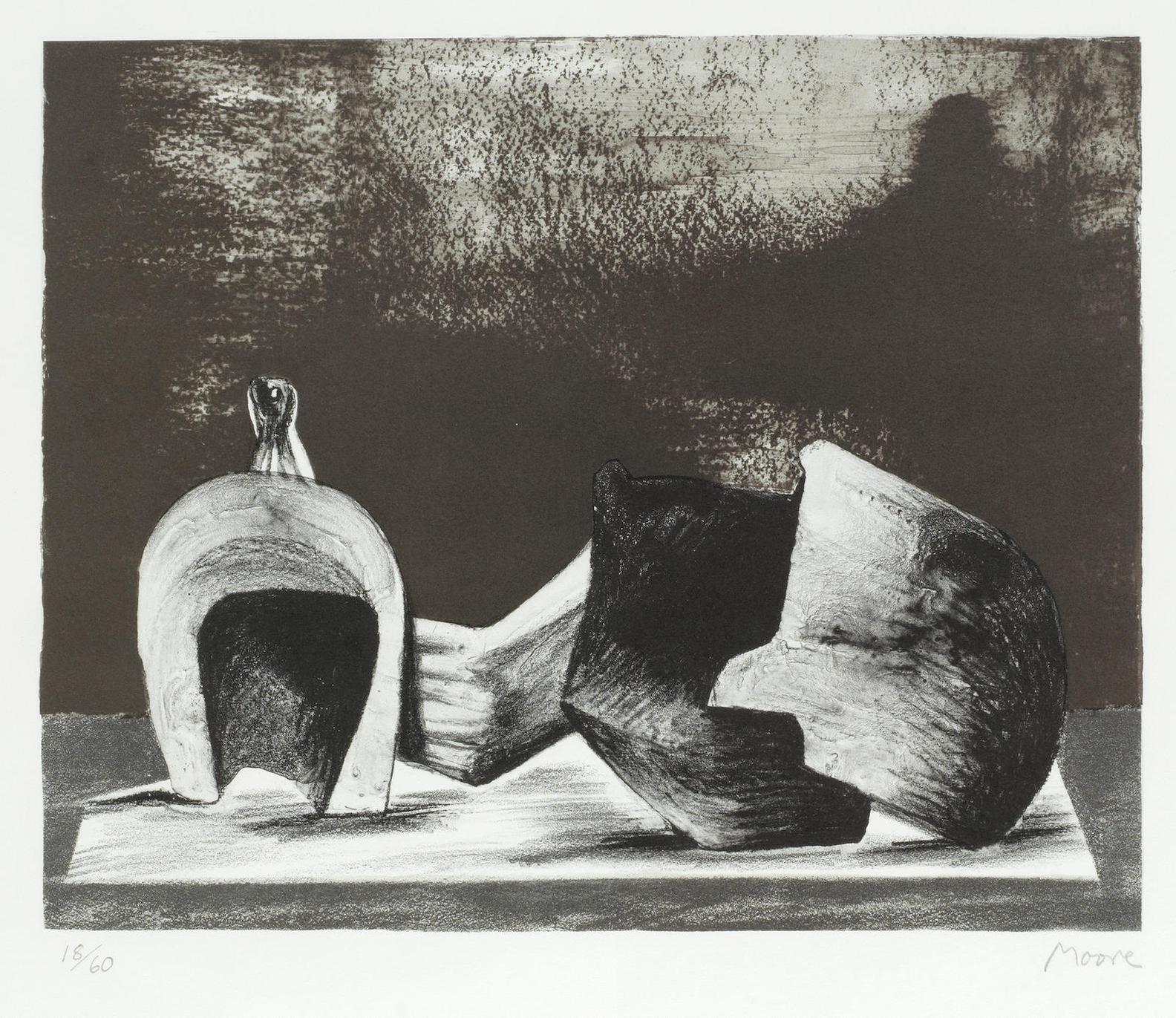 Henry Moore-Reclining Figure Interior Setting II (Cramer 459)-1977