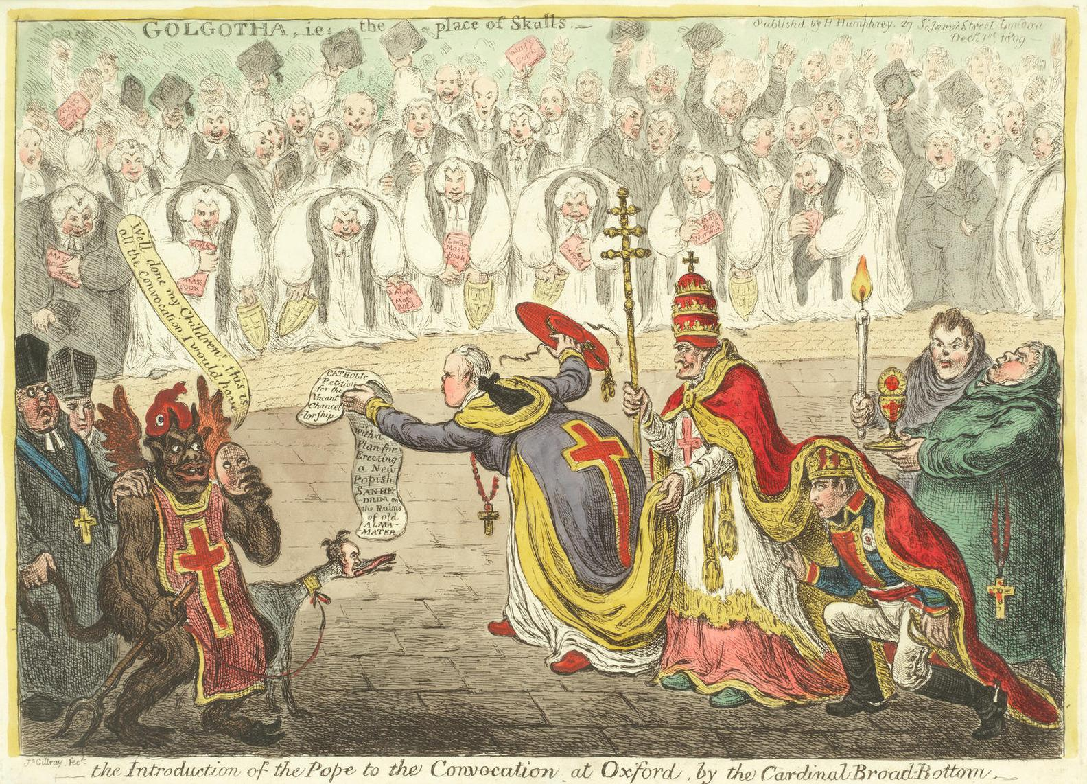 James Gillray-Introduction Of The Pope To The Convocation At Oxford By The Cardinal Broad-Bottom-1809