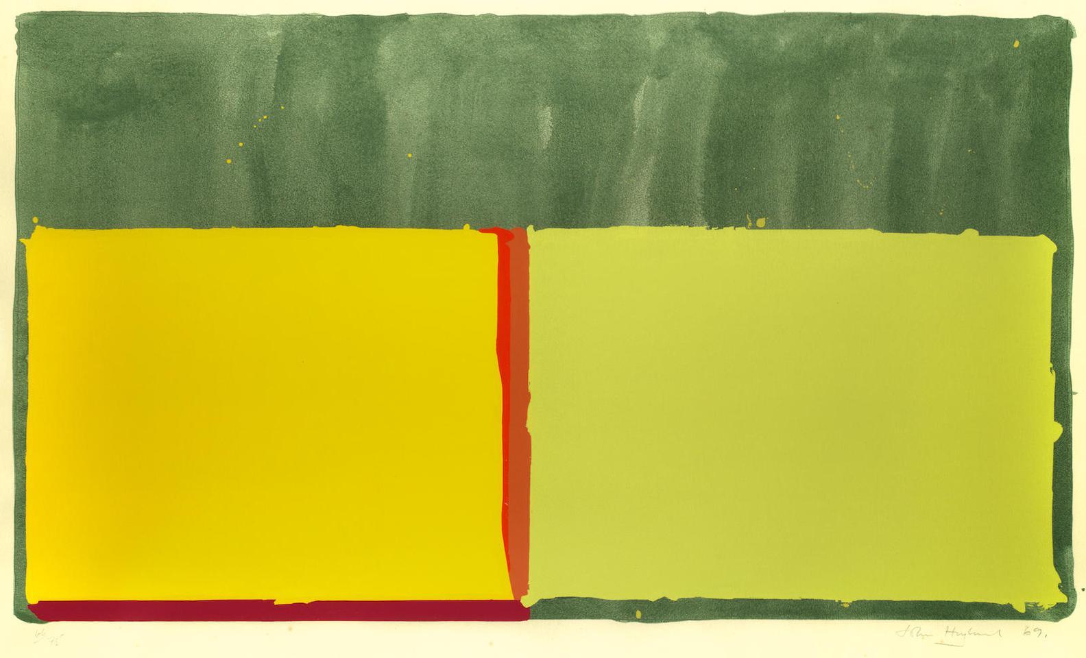 John Hoyland-Yellows; Small Grey (Swiss)-1969