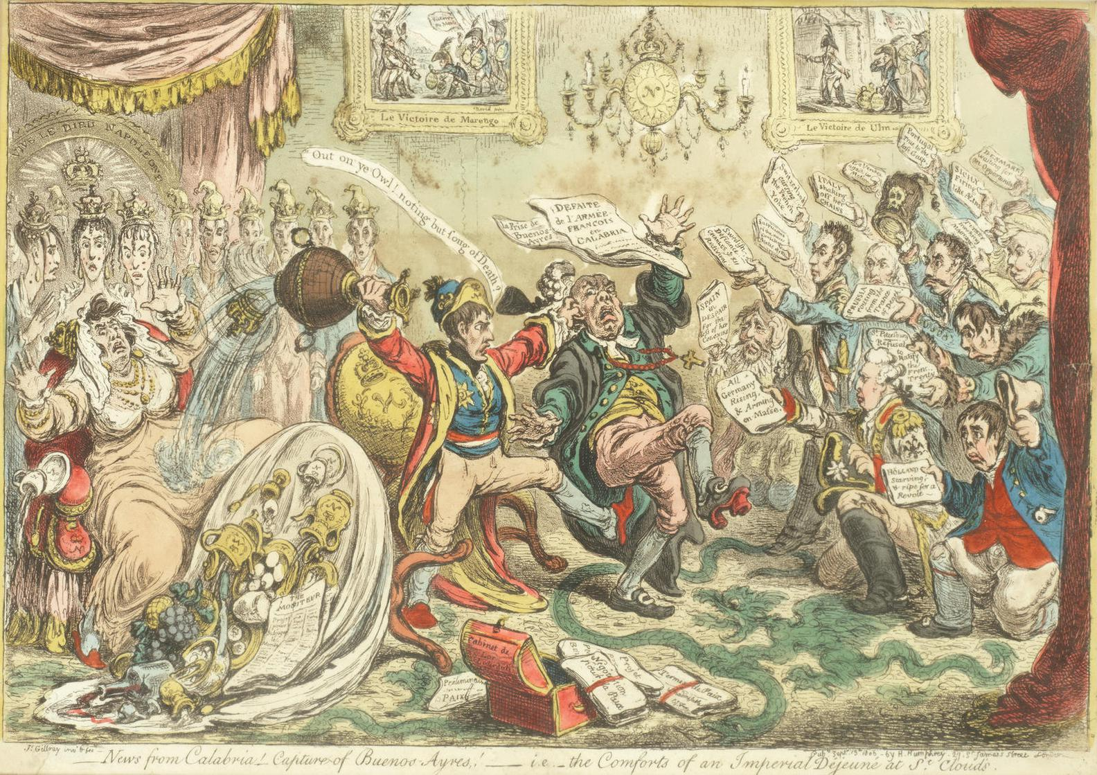 James Gillray-News From Calabria! Capture Of Buenos Aires!-1806