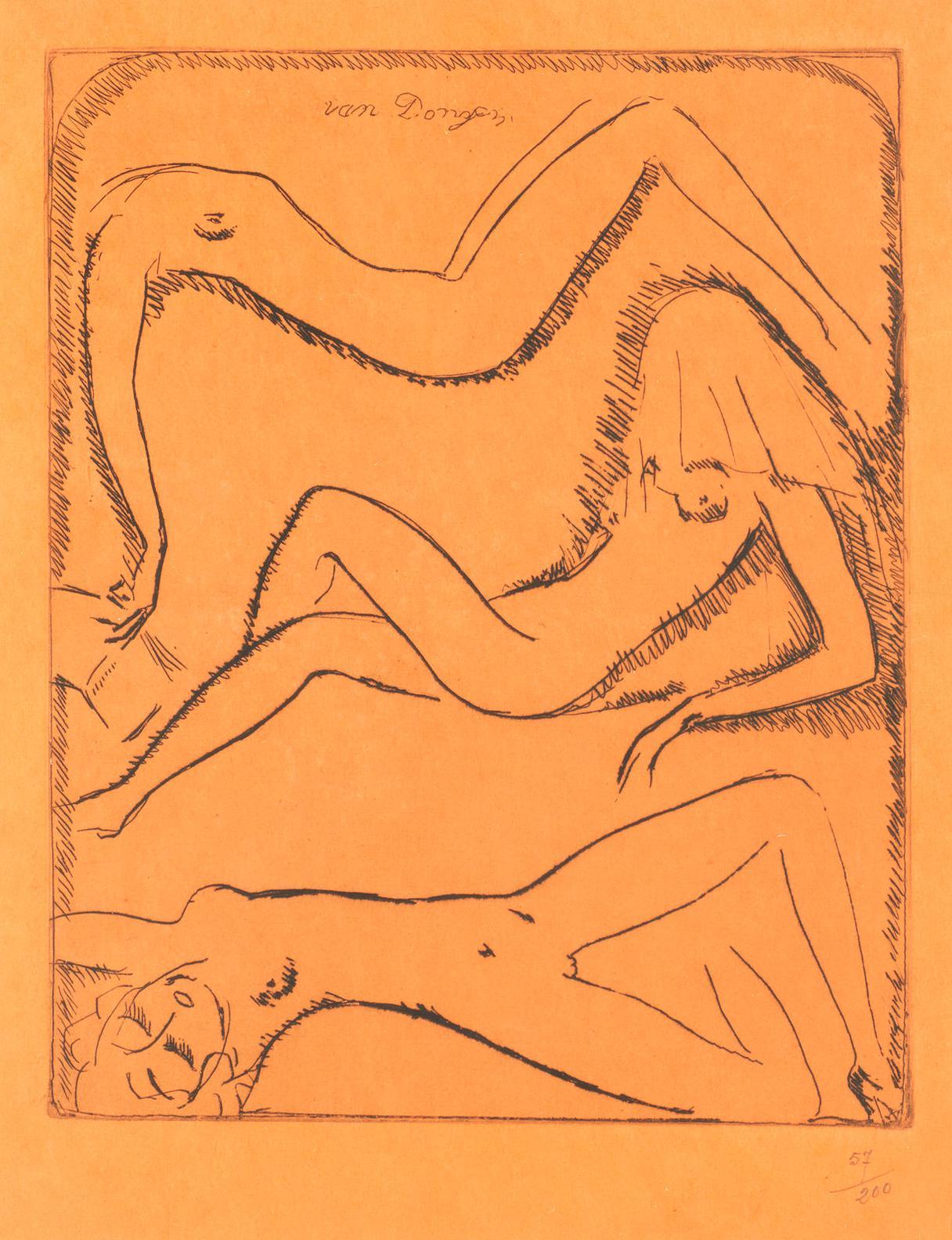 Kees van Dongen-Three Reclining Female Nudes (Jufferman Jb5)-1925