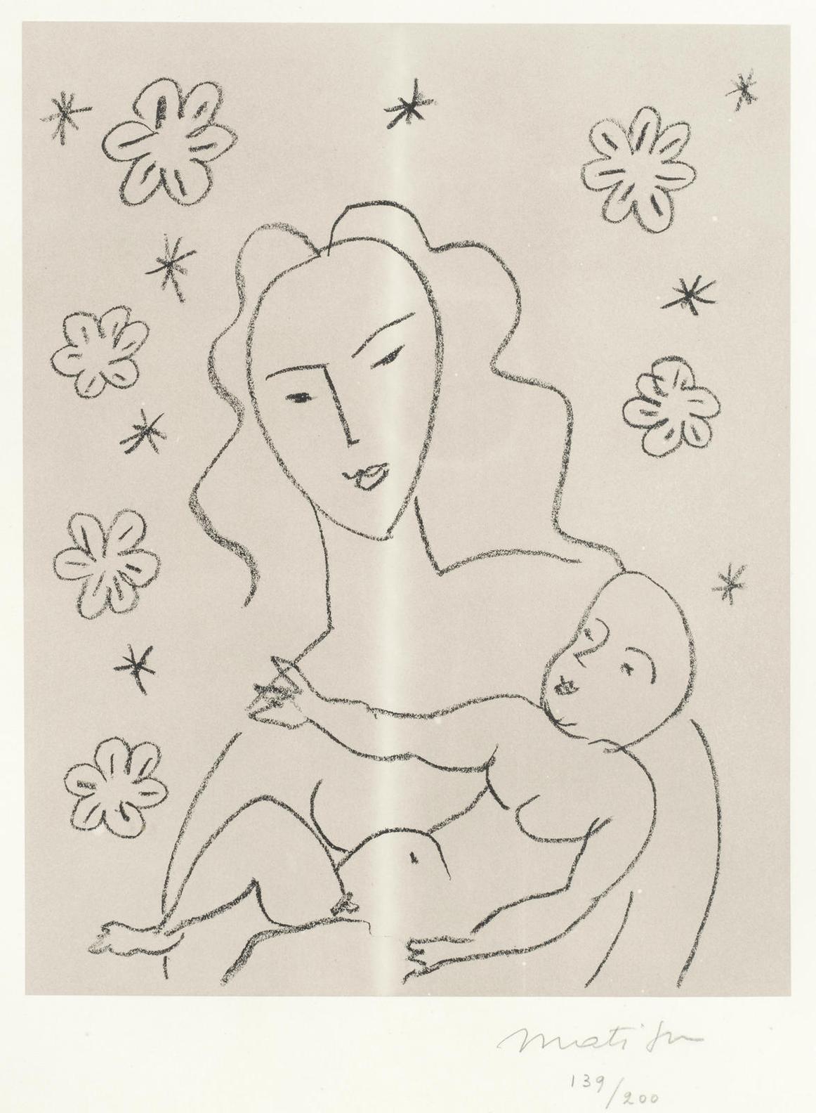 Henri Matisse-Vierge Et Enfant Sur Fond De Fleurs Et Detoiles (Dupin 646)-1951