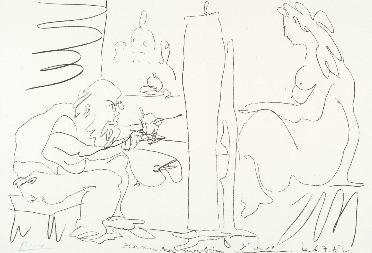 Pablo Picasso-Le Peintre Et Son Modele (Bloch 1036; Mourlot 355)-1962