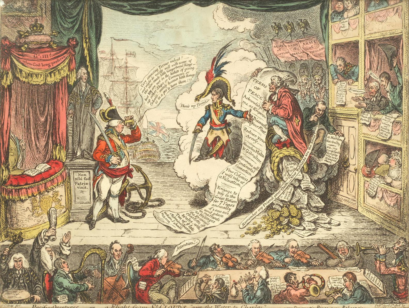 James Gillray-Pacific Overtures Or A Flight From St Clouds Over The Water To Charley-1806