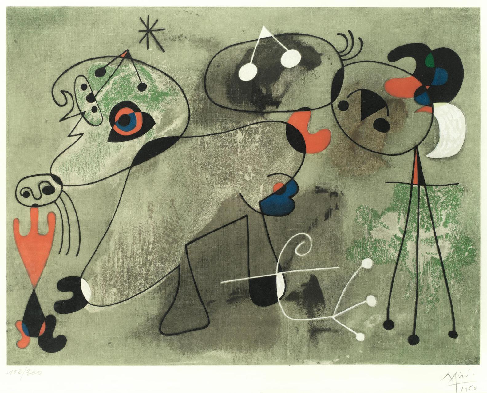 Joan Miro-After Joan Miro - Composition Sur Fond Vert (Maeght1703)-1950