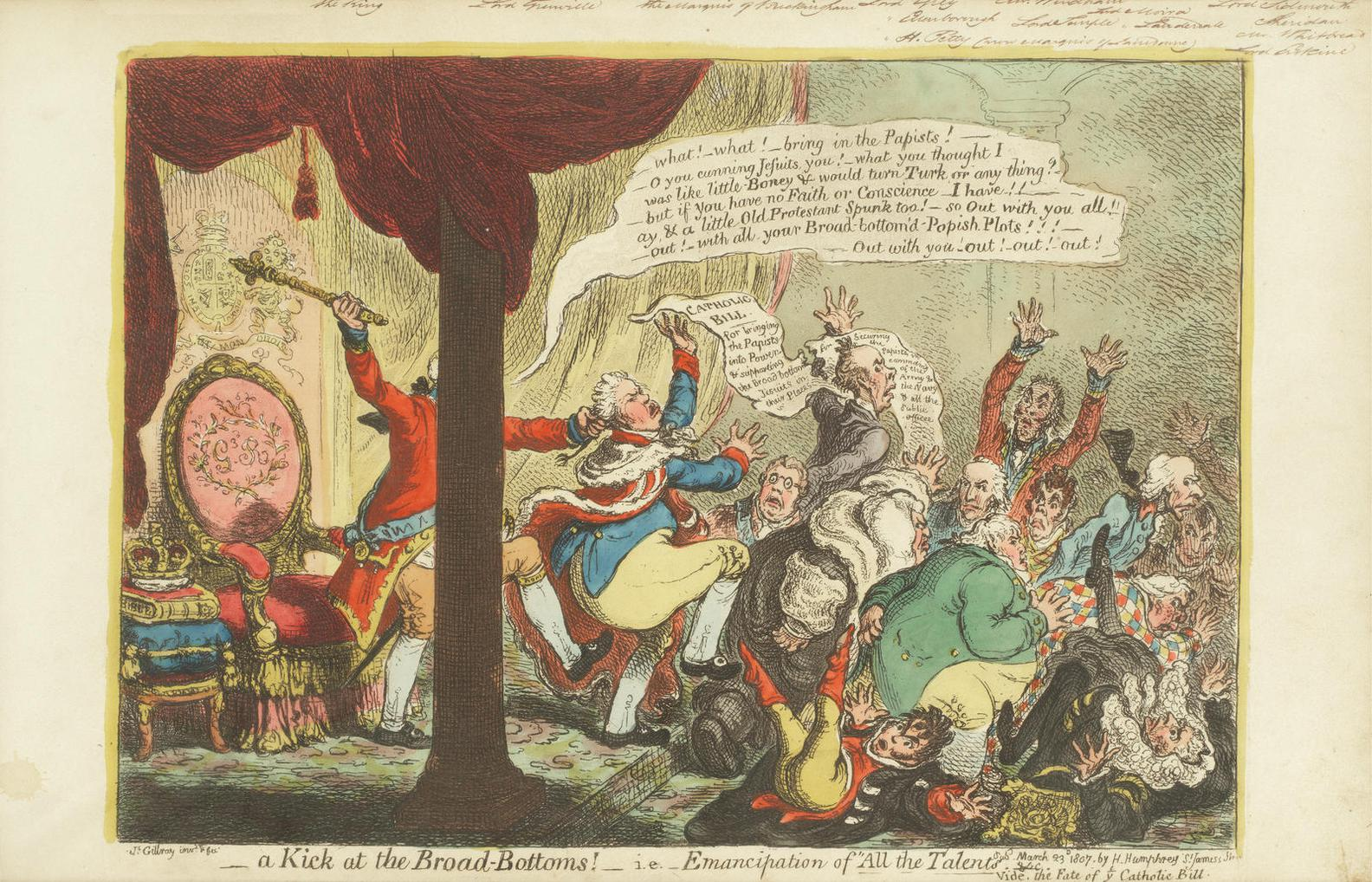James Gillray-A Kick At The Broad Bottoms!-1807