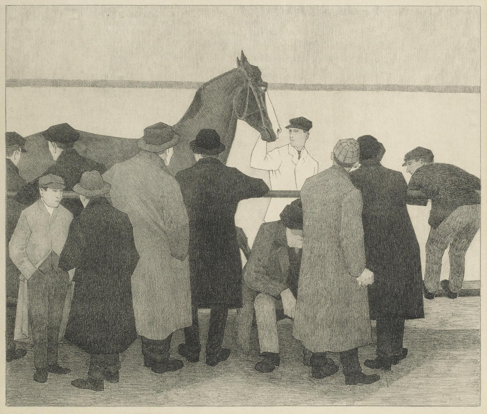 Robert Bevan-Horse Dealers (Wards Repository No.1) (Dry 33); Sale at Ward's Repository' (Ward's No.2) (D36)-1921