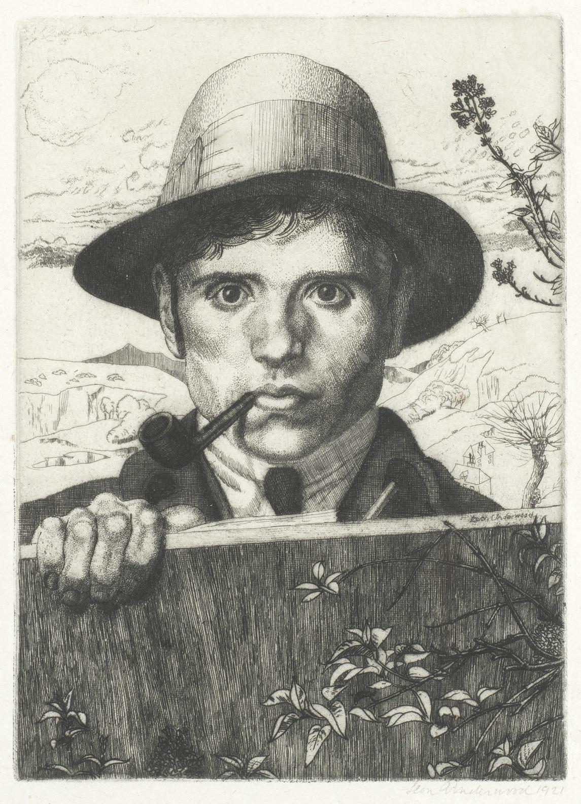 Leon Underwood - Self-Portrait In A Landscape-1921