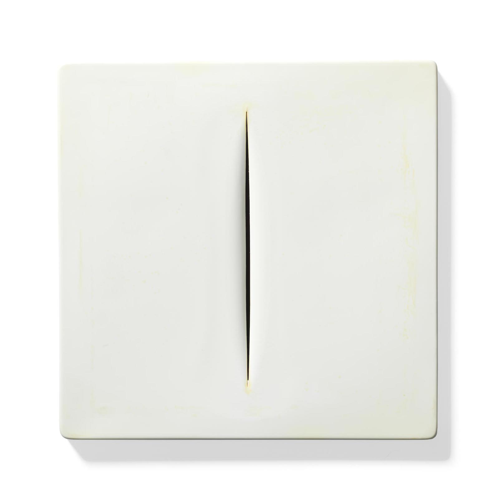 Lucio Fontana-After Lucio Fontana - Concetto Spaziale (White) (Ruhe & Rigo M-15)-1968