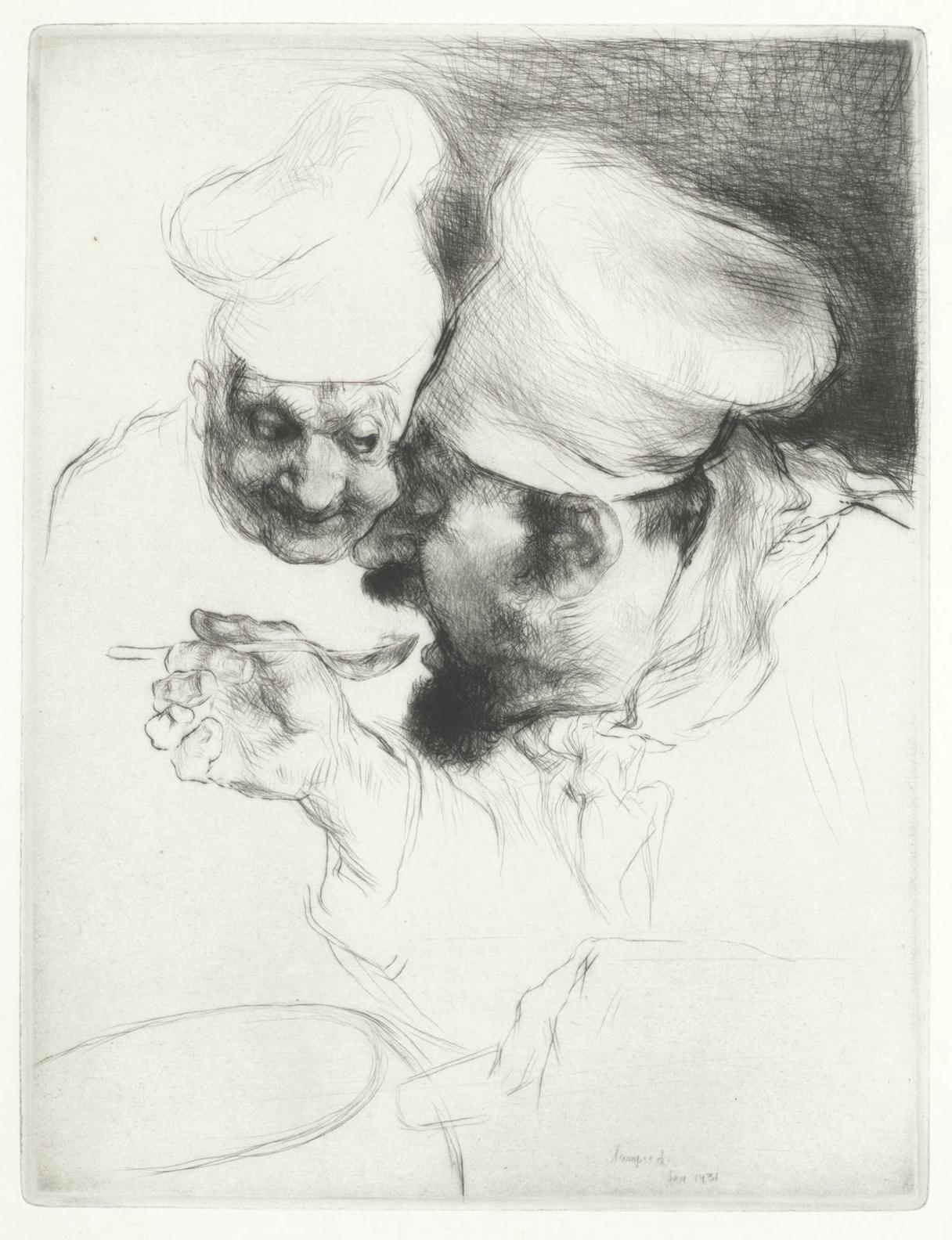 Edmund Blampied-A Group Of Etchings: Le Chef Doeuvre; Fetch It; The Bathing Machine; Fairy Tales; Untitled; A Holiday Morning; The Centenarian And The Market Argument-1931