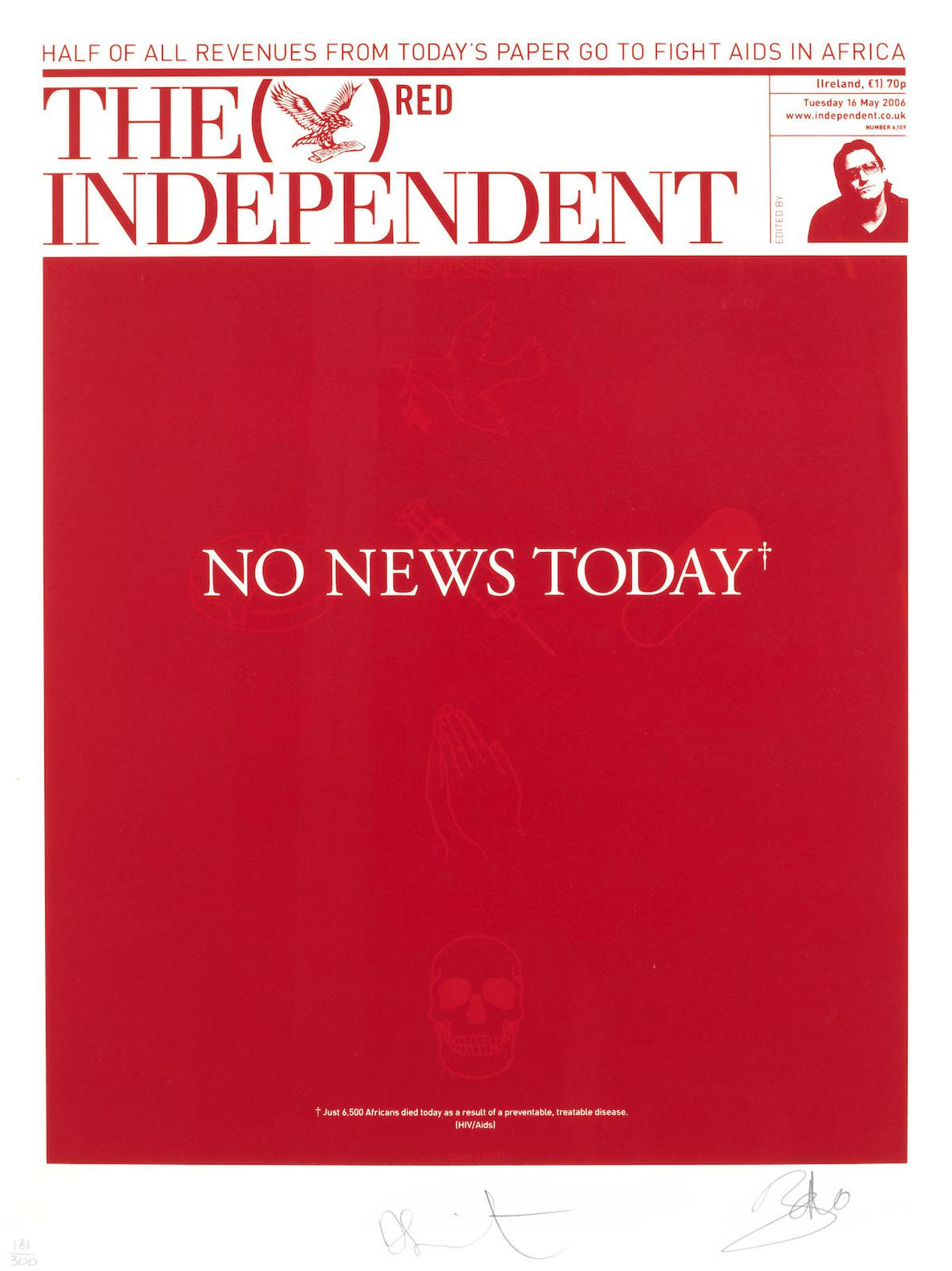 Damien Hirst-The Independent (Red)-2008