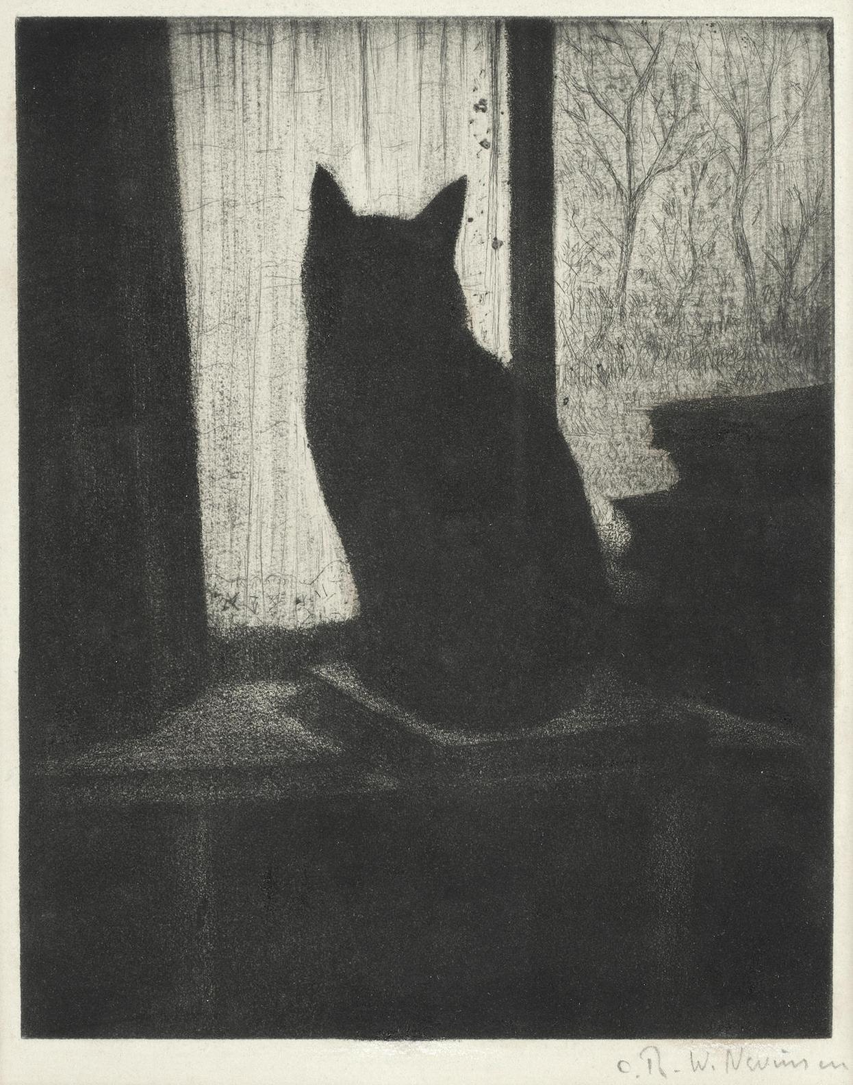 Christopher Richard Wynne Nevinson A.R.A - Le Chat (Black 86)-1922