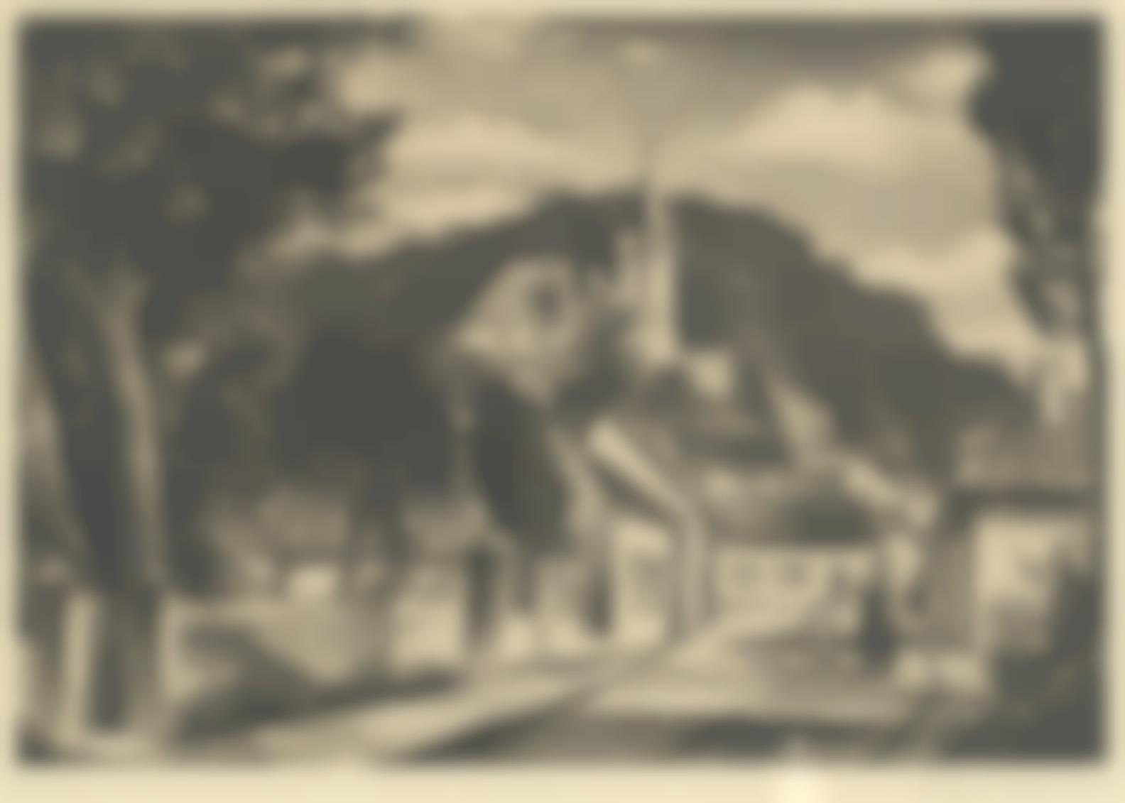 Christopher Richard Wynne Nevinson A.R.A - French Village (Black 141)-1929