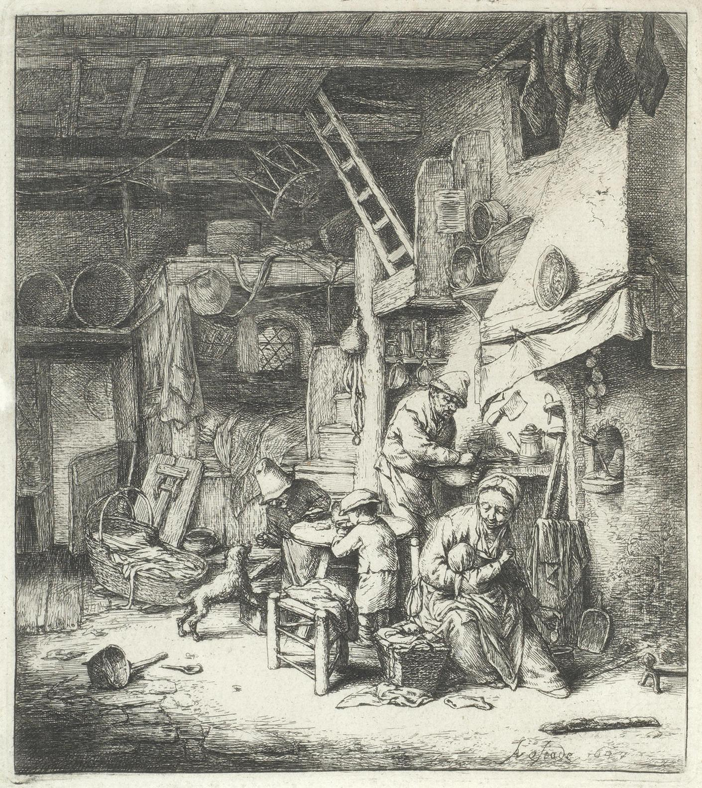 Adriaen van Ostade-A Collection Of Five Etchings (Godefroy 12, 18, 40, 41, 46)-