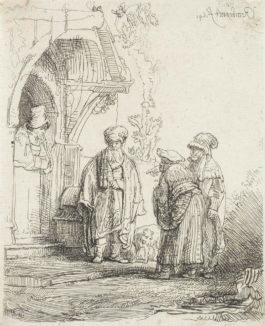 Rembrandt van Rijn-Three Oriental Figures (Jacob And Laban?) (Bartsch 118, New Hollstein 190)-1641