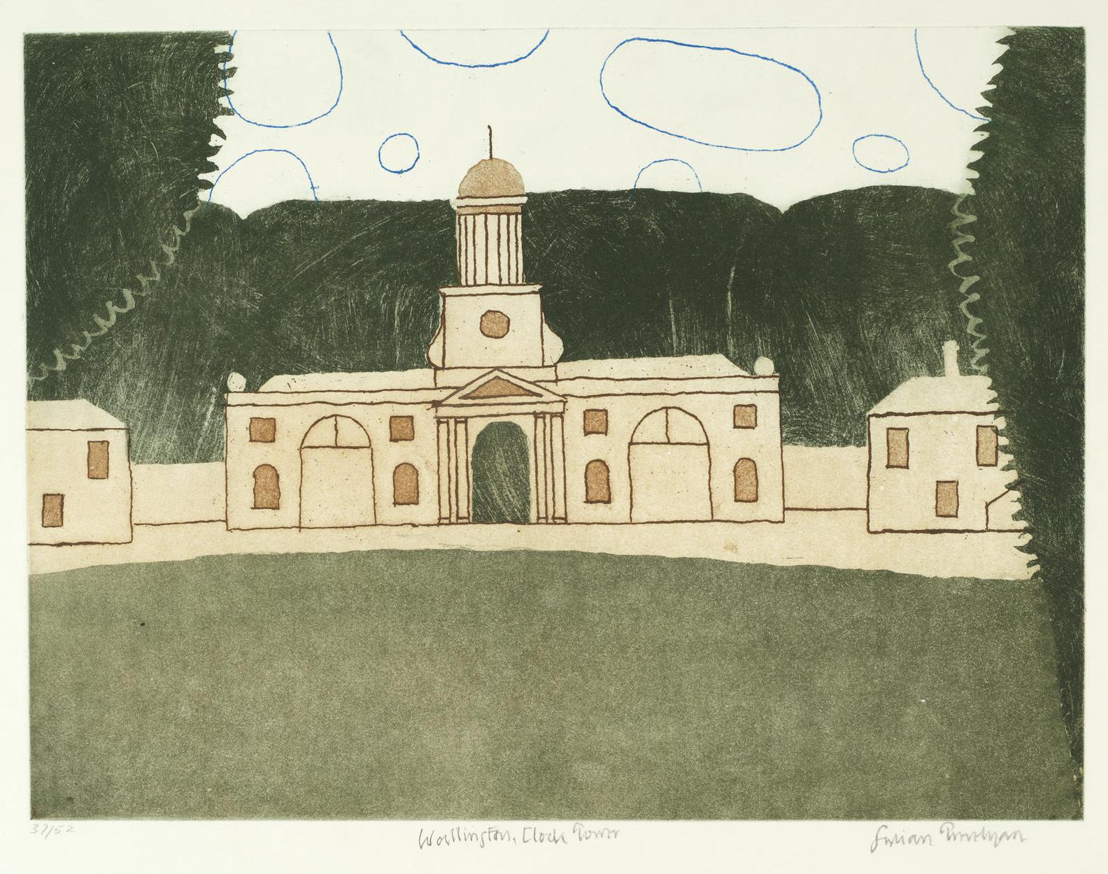 Julian Trevelyan-Wallington, Clock Tower (Turner 317)-1975