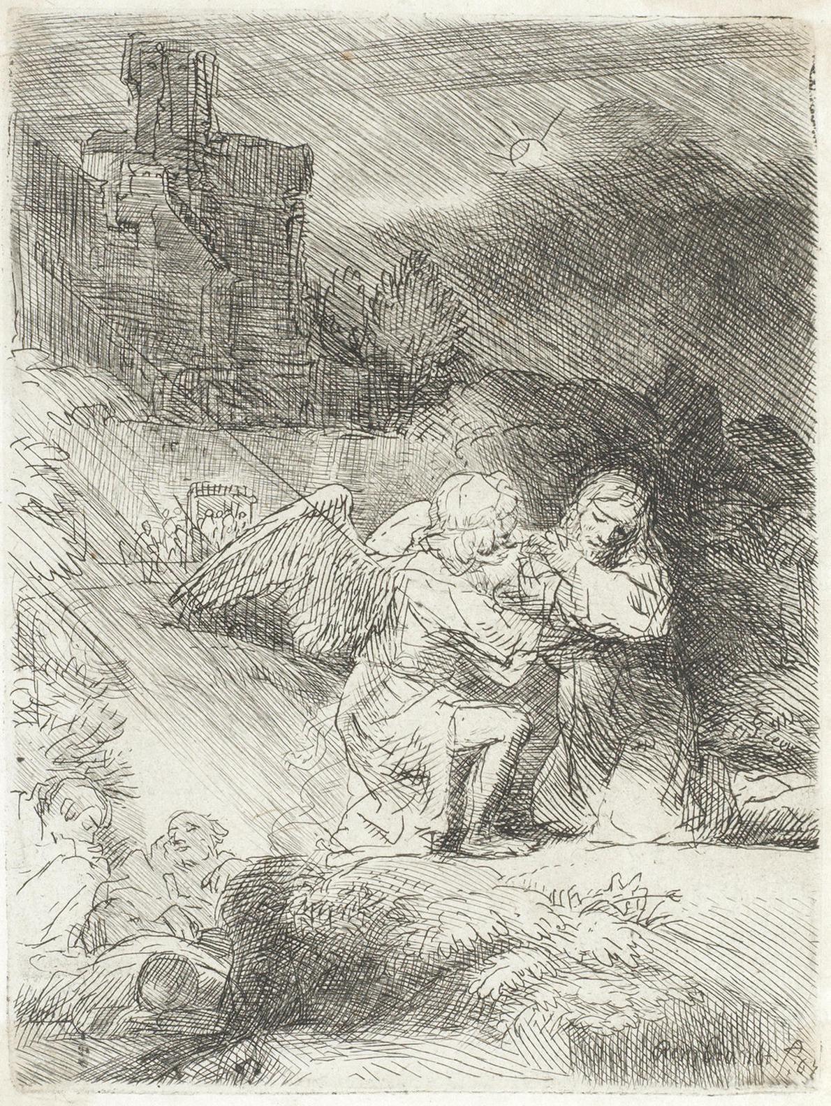 Rembrandt van Rijn-The Agony In The Garden (Bartsch 75, New Hollstein 269)-1652