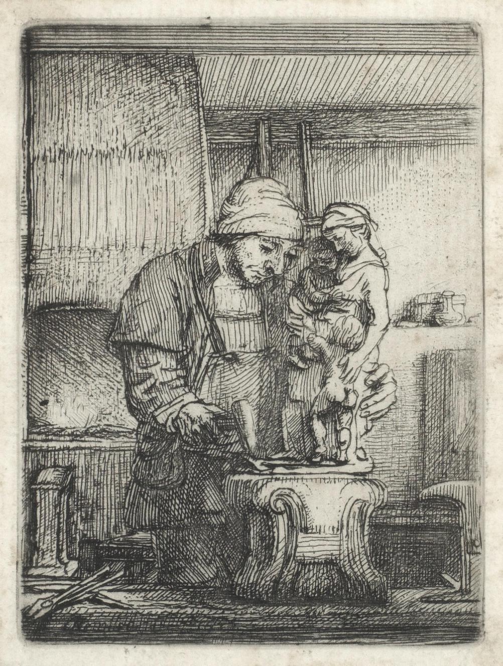 Rembrandt van Rijn-The Goldsmith (Bartsch123; New Hollstein 289)-1655