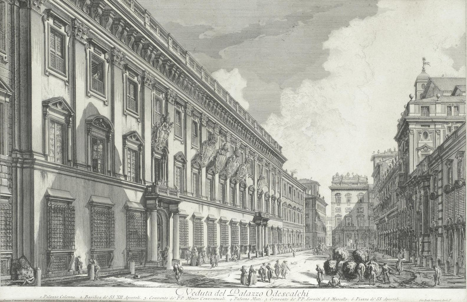 Giovanni Battista Piranesi-The Palazzo Odescalchi; The Temple Of Saturn With The Arch Of Septimius Severus In The Background; The Pantheon, Interior (Hind 26, 110)-1753