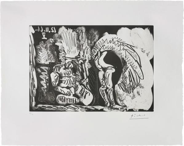 Pablo Picasso-Fumeur De Pipe Et Femme Retroussant Son Jupon (Pipe-Smoker And Woman Trussing Her Petticoats)-1966