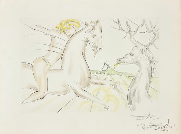 Salvador Dali-Le Cheval Qui Voulait Se Venger Du Cerf, From Le Bestiaire De La Fontaine Dalinise (The Horse That Wanted Revenge On The Stag, From La Fontaines Bestiary Dalinized)-1974