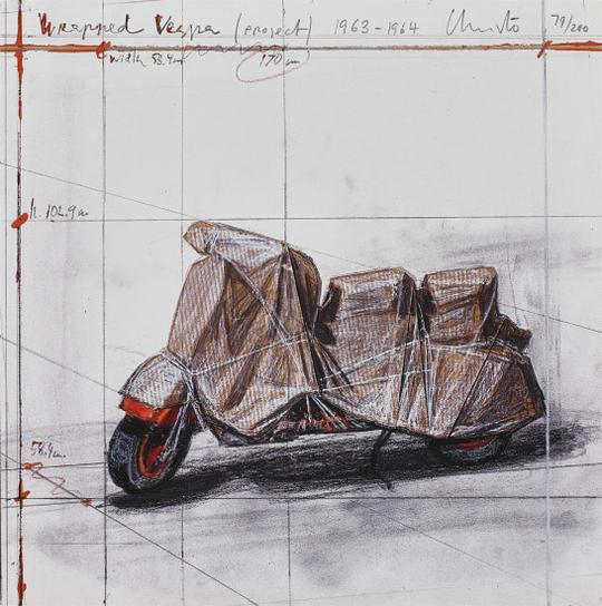 Christo and Jeanne-Claude-Wrapped Vespa, Project, 1963-64-2009