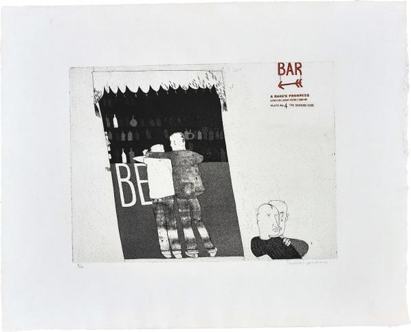David Hockney-The Drinking Scene, Plate 4 From A Rakes Progress-1963